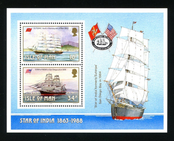 Isle of Man Scott #370a MNH S/S Historic Ships Built On the Isle of Man CV$2+