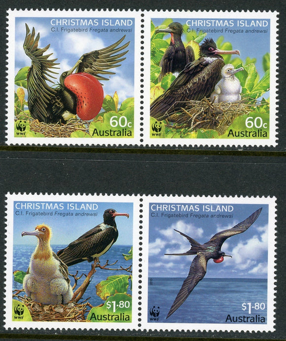 Christmas Island Scott #487-488 MNH PAIRS Worldwide Fund for Nature Birds CV$14+