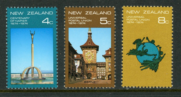 New Zealand Scott #553-555 MNH UPU Centenary $$