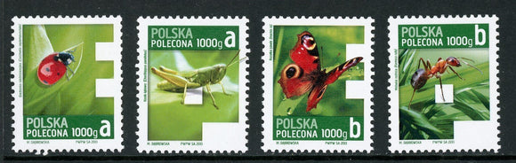 Poland Scott #F5-F8 MNH 2013 Green Registration Stamps Insects FAUNA CV$19+