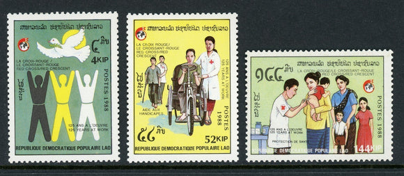 Laos Scott #899-901 MLH Red Cross and Red Crescent 125th ANN CV$4+
