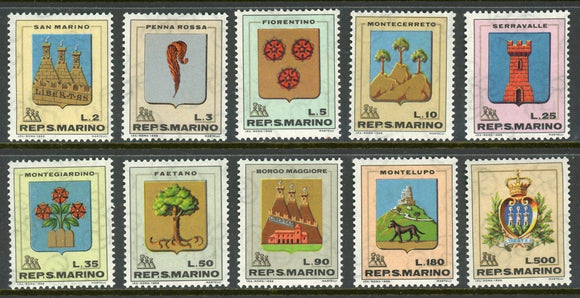 San Marino Scott #677-686 MNH Various Coats of Arms CV$2+