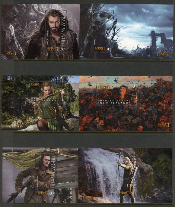 New Zealand Scott #2490a-2495a MNH S/Ss The Hobbit Movie CV$24+