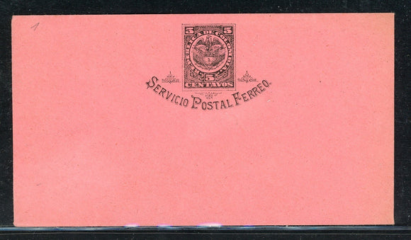 Colombia Postal Stationery: H&G #1 5c Blk/Rose PSE Servicio Postal Ferreo $$$
