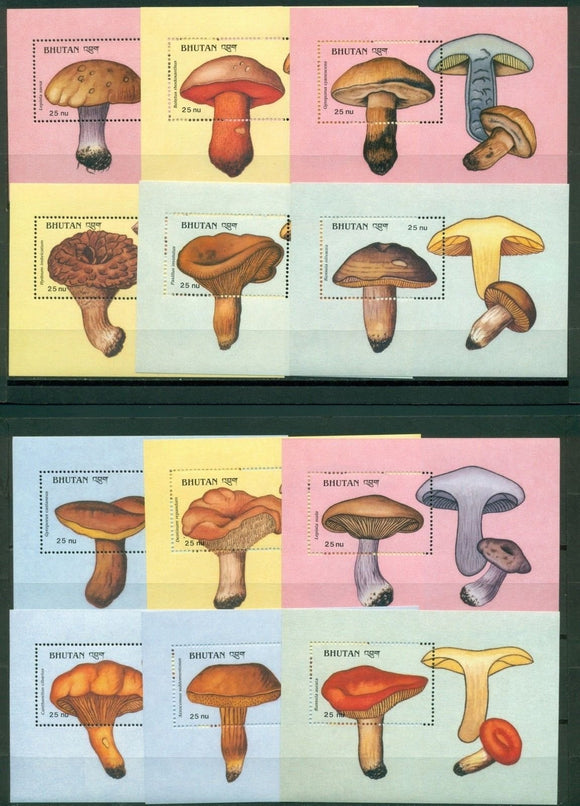 Bhutan Scott #725-736 MNH Mushrooms Flora CV$66+