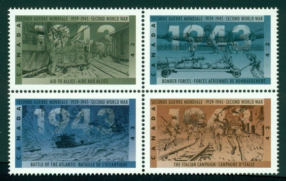 Canada Scott #1506a MNH BLOCK WW II Events CV$3+