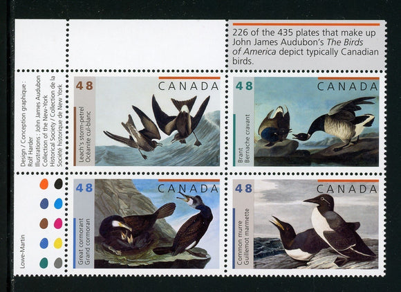 Canada Scott #1982a MNH BLOCK Audubon Bird Paintings FAUNA CV$3+