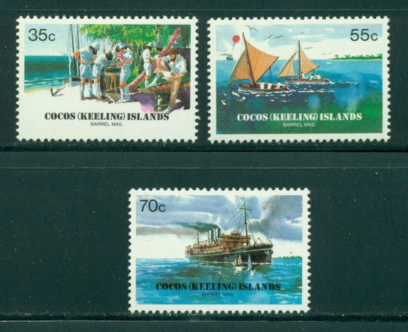 Cocos Islands Scott #111-113 MNH Barrel Mail 75th ANN CV$2+