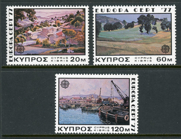 Cyprus Scott #475-477 MNH Europa 1977 Landscape Paintings ART CV$2+