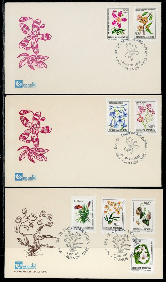 Argentina Scott #1346//1356 FIRST DAY COVERS (3) Orchids Flowers FLORA $$