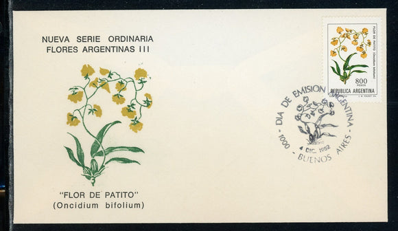 Argentina Scott #1348 FIRST DAY COVER Orchids Flowers FLORA $$