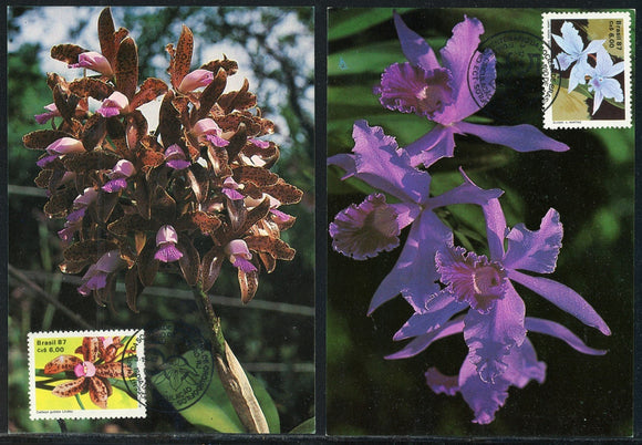 Brazil Scott #2121-2122 POSTCARDS (2) Orchid Growers Society 50th ANN $$