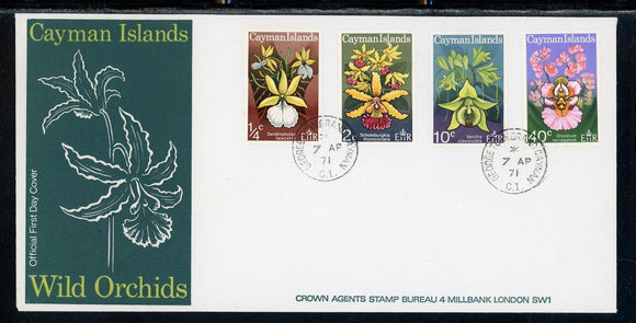 Cayman Islands Scott #287-290 FIRST DAY COVER Orchids Flowers FLORA $$