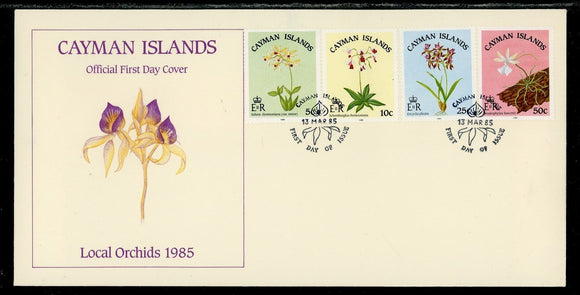 Cayman Islands Scott #535-538 FIRST DAY COVER Orchids Flowers FLORA $$