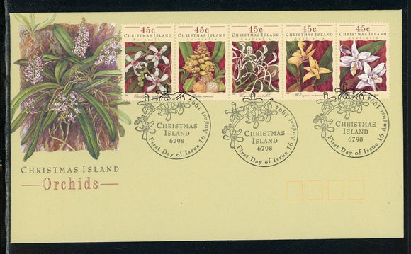Christmas Island Scott #363 FIRST DAY COVER STRIP Orchids Flowers FLORA $$