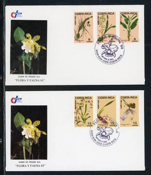 Costa Rica Scott #332-337 FIRST DAY COVERS (2) Orchids Flowers FLORA $$