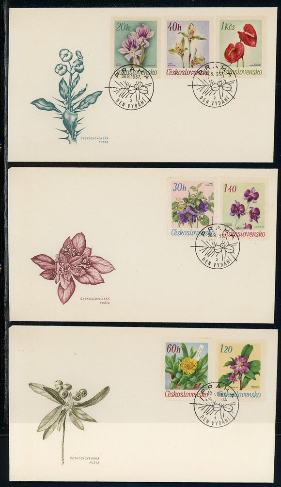 Czechoslovakia Scott #1490-1496 FIRST DAY COVERS Orchids Flowers FLORA $$