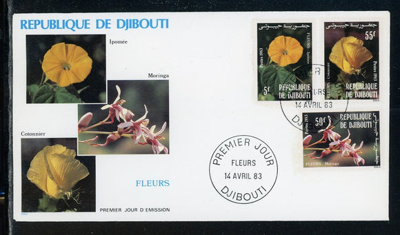 Djibouti Scott #558-560 FIRST DAY COVER Orchids Flowers FLORA $$