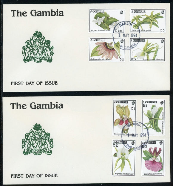 Gambia Scott #1514-1521 FIRST DAY COVERS (2) Orchids FLORA $$