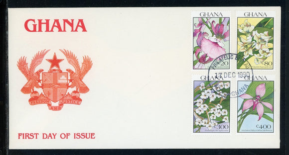 Ghana Scott #1229//1235 FIRST DAY COVER Orchids FLORA $$