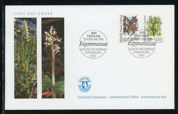 Greenland Scott #279//282 FIRST DAY COVER Orchids Plants FLORA $$