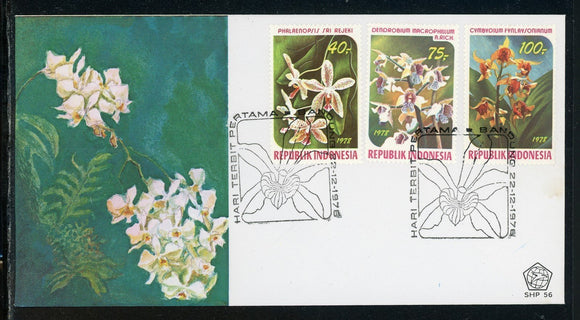 Indonesia Scott #1036-1038 FIRST DAY COVER Orchids Flowers FLORA $$