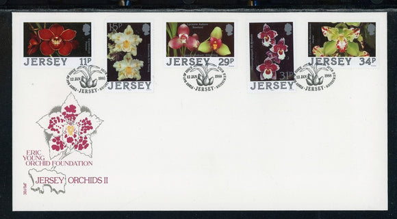 Jersey Scott #442-446 FIRST DAY COVER Orchids Flowers FLORA $$