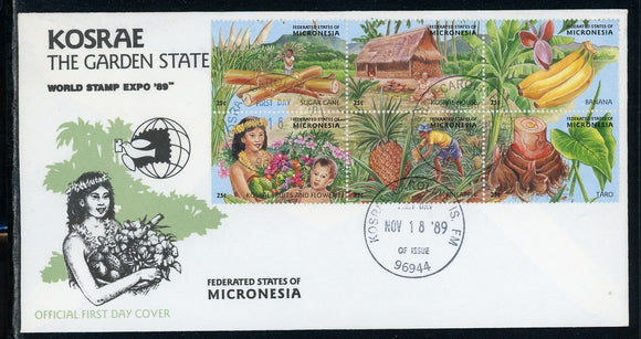 Micronesia Scott #103g-l FIRST DAY COVER Orchids Flowers FLORA Stamp EXPO '89 $$