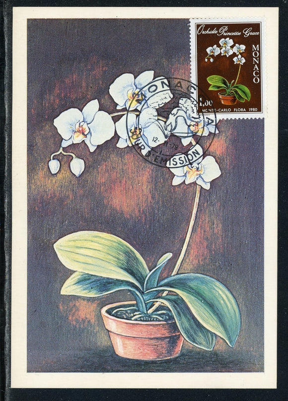 Monaco Scott #1190 POSTCARD FD Cancel Princess Grace Orchid FLORA $$