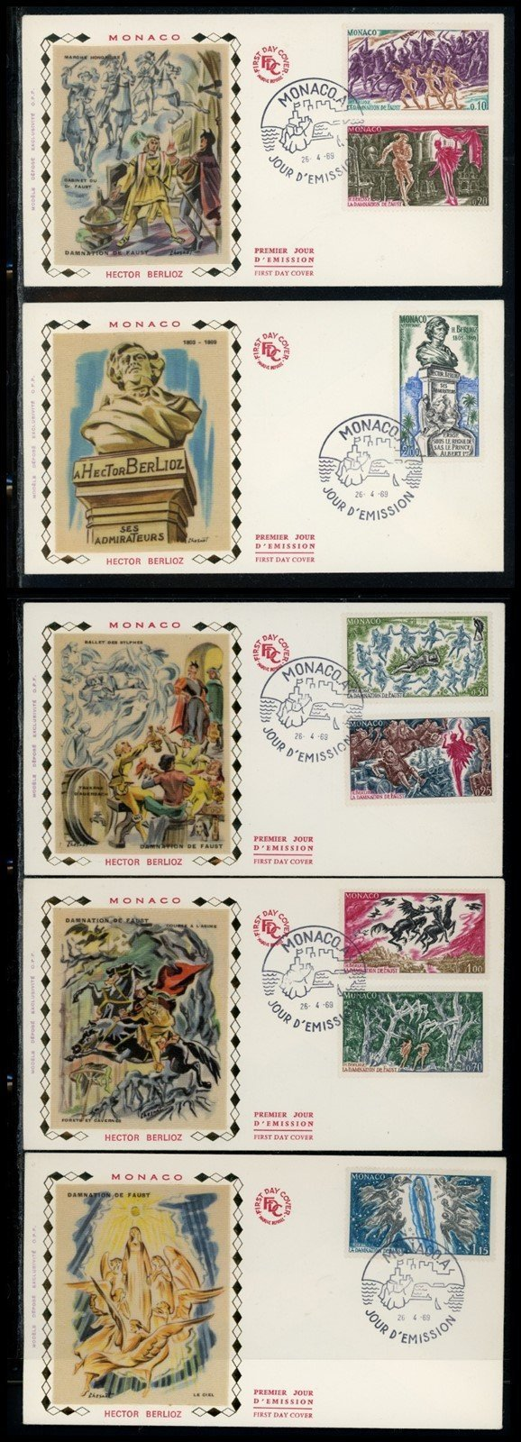 Monaco Scott #712//C75 FIRST DAY COVERS (5) Hector Berlioz COMPLETE SET $$