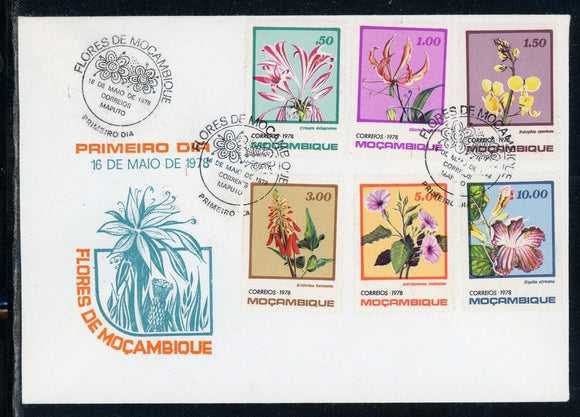 Mozambique Scott #592-597 FIRST DAY COVER Orchids Flowers FLORA $$