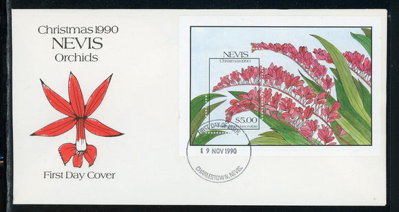 Nevis Scott #634 FIRST DAY COVER S/S Orchids Flowers FLORA Christmas $$