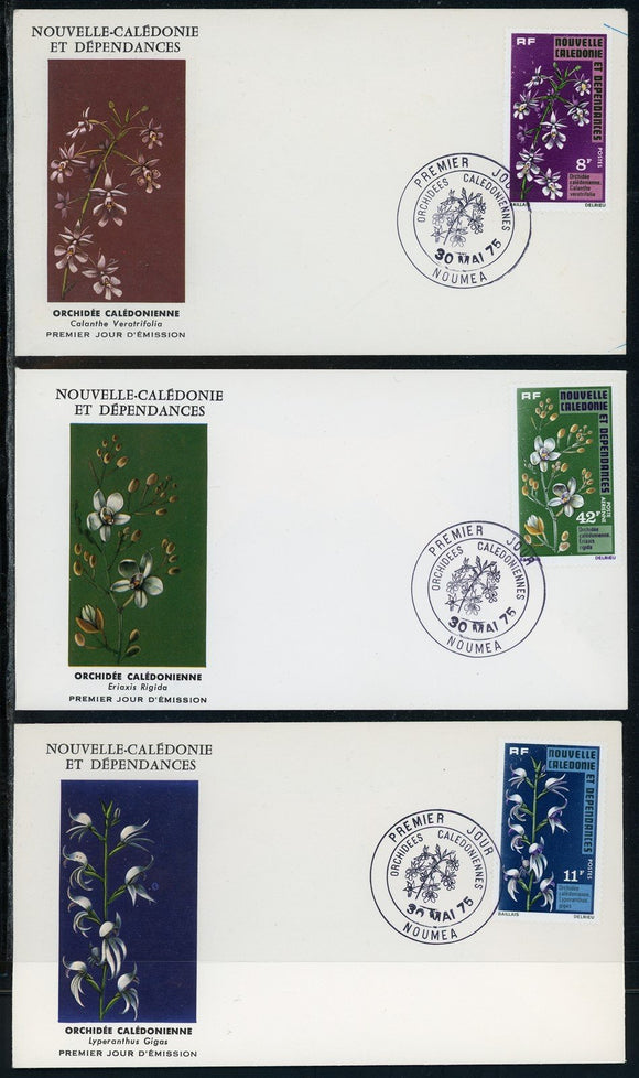 New Caledonia Scott #408//C125 FIRST DAY COVERS (3) Orchids Flowers FLORA $$