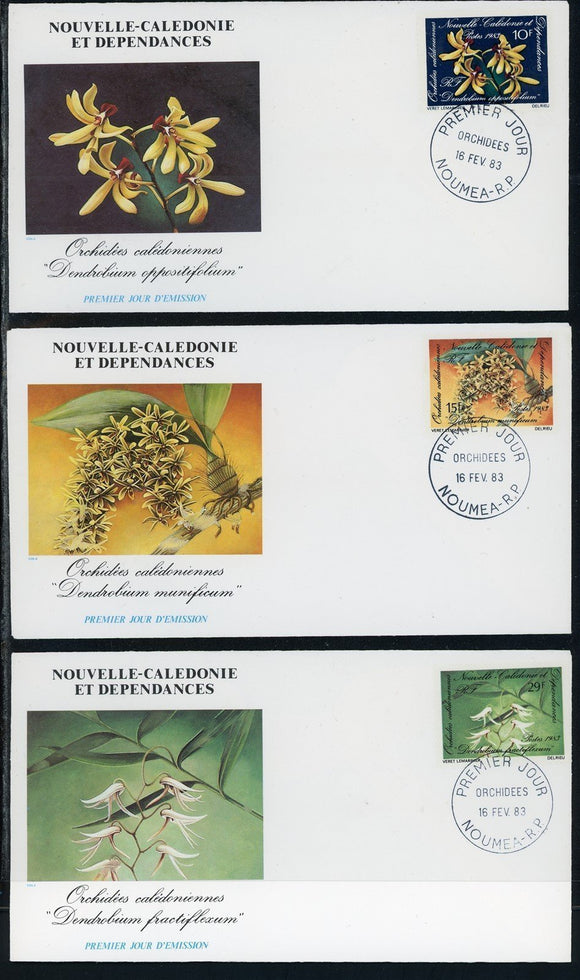 New Caledonia Scott #482A-482C FIRST DAY COVERS (3) Orchids Flowers FLORA $$