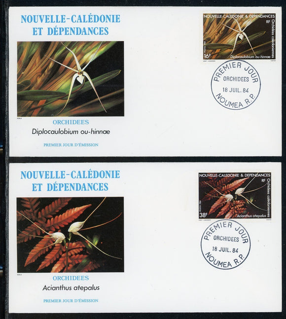 New Caledonia Scott #502-503 FIRST DAY COVERS (2) Orchids Flowers FLORA $$
