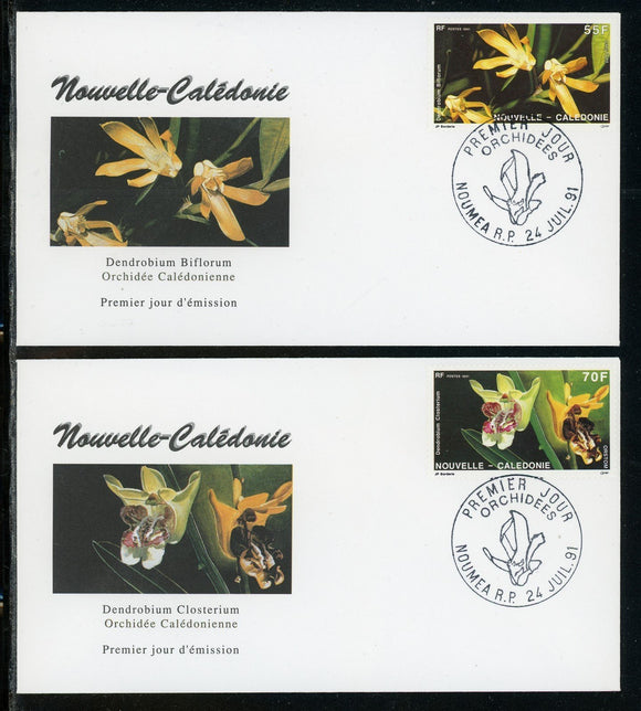 New Caledonia Scott #649-650 FIRST DAY COVERS (2) Orchids Flowers FLORA $$