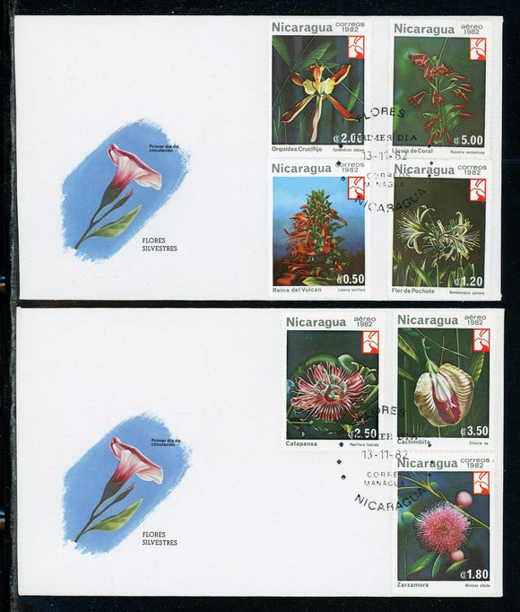 Nicaragua Scott #1191//C1033 FIRST DAY COVERS Orchids Flowers FLORA $$