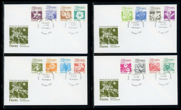 Nicaragua Scott #1209-1224 FIRST DAY COVERS (4) Orchids Flowers FLORA $$