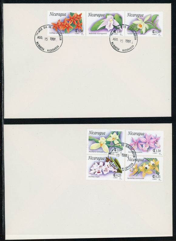 Nicaragua Scott #1863-1869 FIRST DAY COVERS Orchids Flowers FLORA $$
