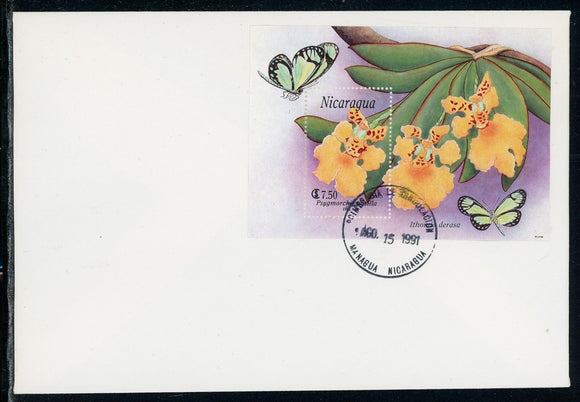 Nicaragua Scott #1870 FIRST DAY COVER Orchids Flowers FLORA S/S $$