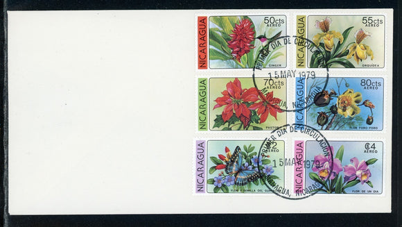Nicaragua Scott #C963-C968 FIRST DAY COVER Orchids Flowers FLORA Birds $$