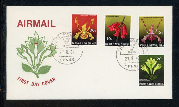 Papua New Guinea Scott #287-290 FIRST DAY COVER Orchids Plants FLORA $$