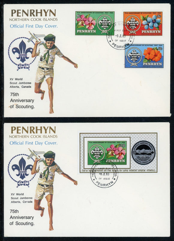 Penrhyn Island Scott #219-223 FIRST DAY COVERS Orchids Scouting Jamboree $$