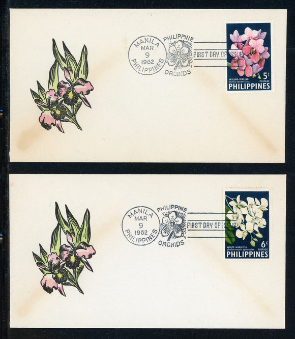 Philippines Scott #850-851 FIRST DAY COVERS Orchids Plants FLORA $$