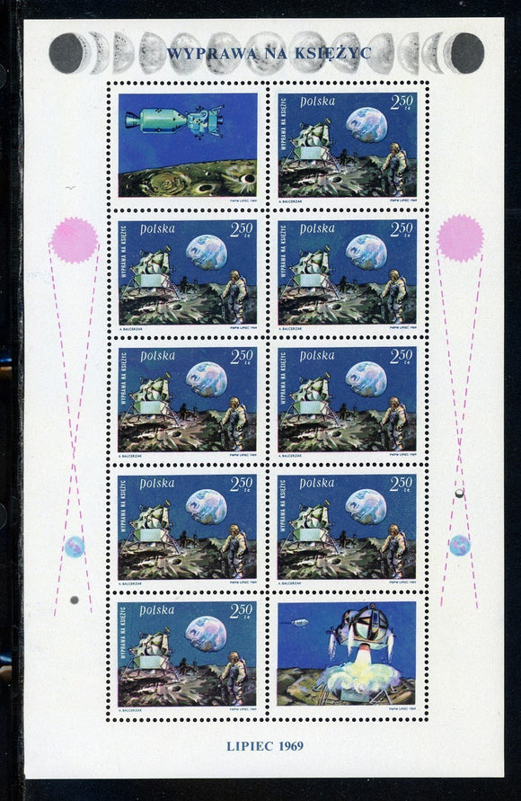 Poland Scott #1674 MNH SHEET Man's 1st Moon Landing SPACE CV$9+