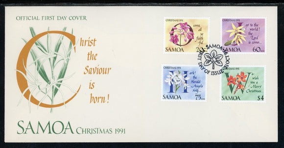Samoa Scott #793-796 FIRST DAY COVER Christmas Orchids Flowers FLORA $$