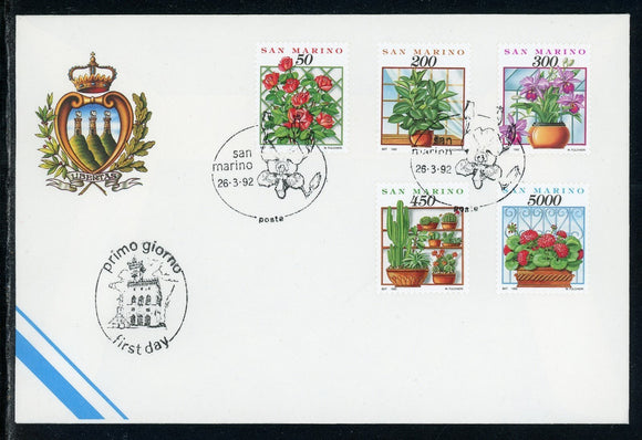 San Marino Scott #1251-1255 FIRST DAY COVER Orchids Flowers FLORA $$