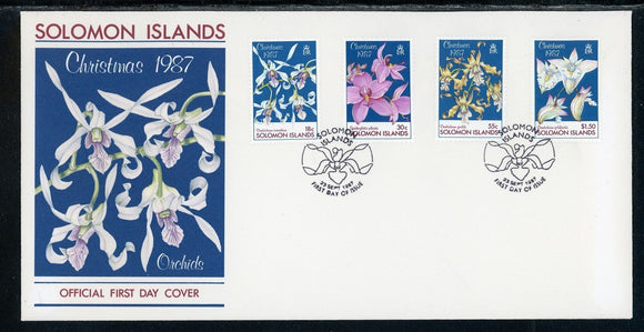 Solomon Islands Scott #598-601 FIRST DAY COVER Christmas 1987 Orchids FLORA $$