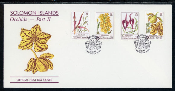 Solomon Islands Scott #631-634 FIRST DAY COVER Orchids Flowers FLORA $$
