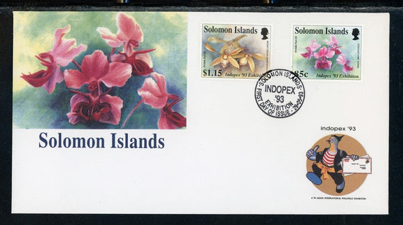 Solomon Islands Scott #753-754 FIRST DAY COVER Orchids FLORA INDOPEX '93 Show $$
